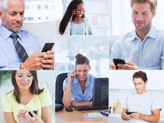 Collage of pictures showing people using their mobile phone Stock Photos