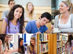 Collage of pictures showing students - stock photo