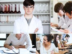 Stock Photo of Collage of students during their lectures