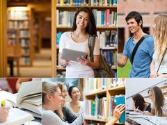 Stock Photo of Collage of pictures with students
