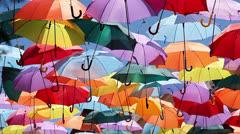 Background colorful umbrella street decoration. Stock Footage