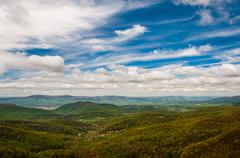 Spring colors in the appalachian mountains and shenandoah valley, seen from s Stock Photos