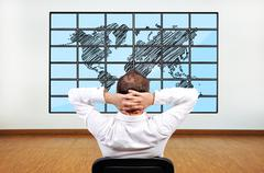 world on flat panels - stock photo