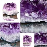 purple rough amethyst crystals,amethyst druse close-up - stock photo