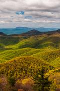 Spring greens and yellows in the appalachian mountains, seen from blackrock s Stock Photos