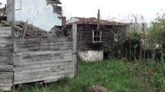 Derelict wooden houses Stock Footage