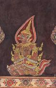 vintage buddhist thai style art - stock illustration