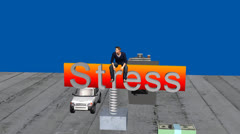 Stress Animation:  Man Bouncing on Financial Obligations Stock Footage