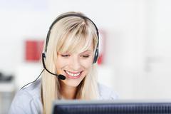 Female call center operator Stock Photos