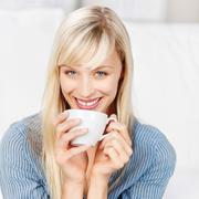 woman with cup - stock photo