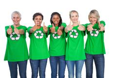 Stock Photo of Team of female environmental activists giving thumbs up