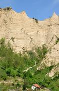 melnik sand pyramids are the most fascinating natural phenomena on the balkan - stock photo