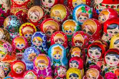 colorful russian wooden dolls - stock photo