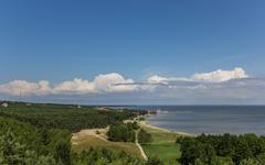 View from the highest dune over the curonian spit Stock Photos