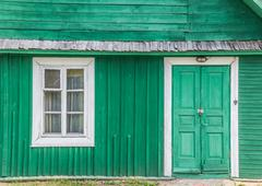 Detail of a traditional green wooden house in trakai Stock Photos