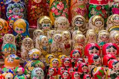 Colorful russian wooden dolls Stock Photos