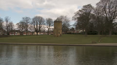 Listed tower building in a local park in Northampton Stock Footage
