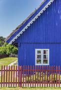 traditional wooden house on curonian spit village nida - stock photo