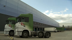 Distribution warehouse(lorry loading bays Stock Footage