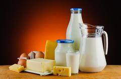 organic daity products - stock photo