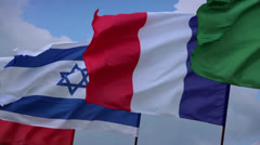 French, Israeli flags on flagstaff. France, Israel negotiations. Wind waving Stock Footage