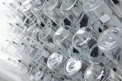 Rows of beaker on a drying rack in a chemistry lab. Stock Photos