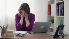 Businesswoman overwhelmed by too much work in the office HD Stock Footage