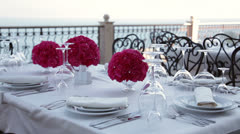 Decorated restaurant table. Stock Footage