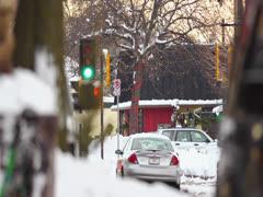 Winter Street Stock Footage
