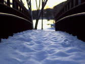 Stock Video Footage of Footsteps Winter Bridge