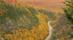 Dixville Notch, New Hampshire, road aerial in autumn Stock Footage