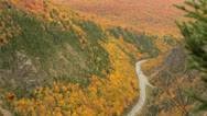 Stock Video Footage of Dixville Notch, New Hampshire, road aerial in autumn