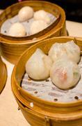 Steamed dumplings with shrimp and pork , dim sum Stock Photos