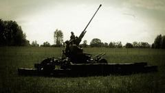 Soldiers prepare howitzer shooting, world war 2 reconstruction. Soviet enginery Stock Footage