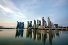 singapore city skyline view of business district - stock photo