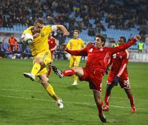 Football game Ukraine vs Canada Stock Photos