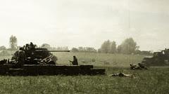 Vintage shots second world war, reconstruction. Soviet, German soldiers Stock Footage