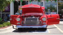 Cherry Red Chevy Doors and Hood Open Stock Footage