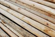 Stock Photo of pile of wood in logs storage closeup