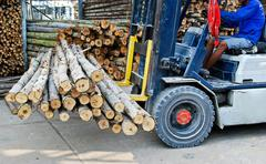 Truck loading pile of wood in logs storage Stock Photos