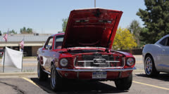 60's Mustang Hood Open Full Frontal Stock Footage