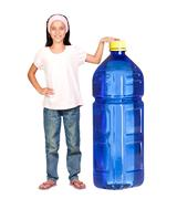 Stock Photo of funny child with a big water bottle