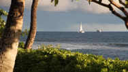 Stock Video Footage of Kaanapali beach sailboat in the distance