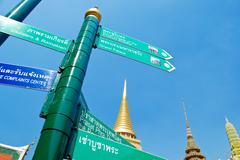 Direction sign for traveler in buddha temple Stock Photos