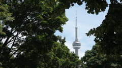 CN Tower framed by tree leaves. Medium shot. Stock Footage