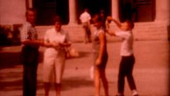 1950s old film Kids at school old vintage outdoors fashion poeple lifestyle Stock Footage