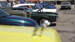 Rack Focus to 70's F-150 Bulldog Hood Ornament Stock Footage