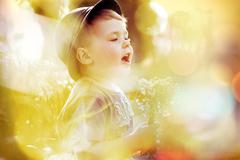 bright picture of small cute kid - stock photo