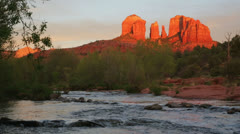 Cathedral Rock and Oak Creek at sunset, Sedona, Arizona - stock footage
