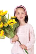 pretty girl with a bouquet of sunflowers - stock photo